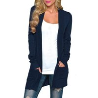 Womne Casual Long Knitted Cardigan Autumn Korean Womens Loose Solid Color Pocket Design Sweater Jacket Coat Outerwear Coats 30