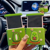 Cartoon Avocado Mirror Phone Holder Keychain Creative Multifunction Cute Key Chains for Women Couple Bag Car Keyring Gifts G1019