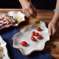 Dishes & Plates Porcelain Dinner Sets Plate Set Kawaii Irregular Pearl Shell Ceramic Home Creative Seafood Steak Salad Tableware