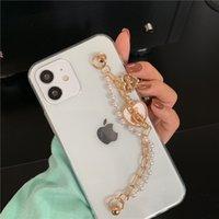 Корейский бабочка цепи браслет красочные бусины телефонные чехлы для iPhone 11 12 Pro Max XS XR SE 7 8plus мода прозрачная мягкая крышка