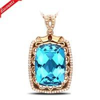 Neue 5-Edel-Pendelleuchte mit 18 Karat Roségoldimitation Diamant Halskette Frauen Swiss Blue Topas D821