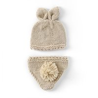 Newborn Photography Props Bunny Crochet Knitting Costume Set Rabbit Hats and Diaper Beanies and Pants Outfits Accessory 51 Z2
