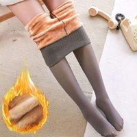 ATHVOTAR Winter Warm Thick Leggings Women Sexy High Waist Translucent Plus Velvet Leggings For Women Skin Color Leggins Q1230