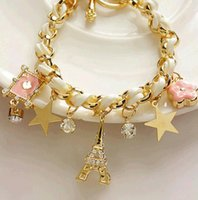 Fashion Eiffel Tower Stars Flower Heart Love Bracelets White Pink Beach Sexy Anklet Double Use Jewelry
