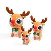 US stock High quality With bells plush elk toy Christmas deer doll dolls children giving gifts cute Xmas decoration CY22