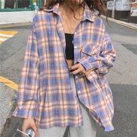 Women's Blouses & Shirts 2021 Summer Oversize Plaid Long Sleeve Pocket Single Breasted Female Shirt Loose Fashion Korean Casual Lady Top