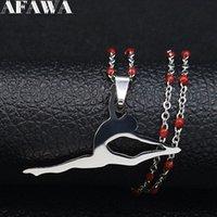 Balletto acciaio inox collane rossa collane catena donna argento color colore danzatore gioielli amante regalo di natale ACERO N19790 pendente