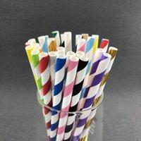 100 pz / borsa Colore Paglia Paglia Party Fornitura colorata carta mista Paglia per bambini festa di compleanno Decorazioni di nozze Carta Bere cannucce