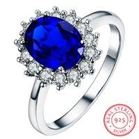 Bague en pierre de saphir bleu naturelle de luxe Natural Natural Natural Solide 925 Sterling Silver Anneaux de mariage pour Femmes Bague de fiançailles ovales