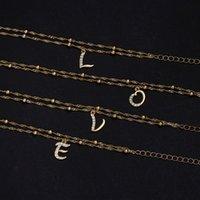 Charm Bracelets Tiny A-Z Initial Letter Pendant Double Layers Anklets Women Gold Alphabet Crystal Zircon Link Anklet Bracelet Boho Jewelry G