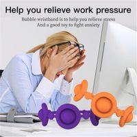 Imprensa portátil Decompression Toys Fidget Simple Push Dimple Pulseira Stress Relief Fig Toy Soft Silicone Pulseira Para As Mulheres