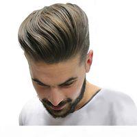 Haltbare und atmungsaktive Haut + Mono Herrenhaar-Toupee 100% Remy Human Hair Stücke Echt Haar Ersatz Toupee für Männer Perücke