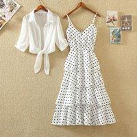 여성 섹시한 저녁 파티 해변 Boho 드레스 인쇄 스커트 폴카 도트 쉬폰 슬링 캐주얼 여름 드레스 숙녀 2021 의류
