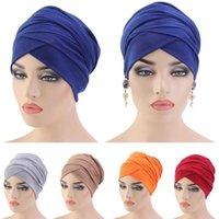 새로운 이슬람 긴 꼬리 스카프 모자 여성 터번 Chemo 모자 탈모 이슬람 헤드 랩 헤드 커버 랩 모자 모자 두바이 아랍 보닛