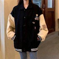 Women's Jackets 2021 Retro Jacket Corduroy Trendy Ladies Spring Baseball Uniform Harajuku Street Style Loose Large Size