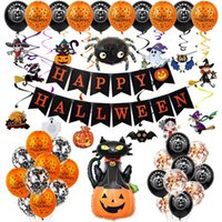 Halloween Balloon Garland Arch Kit Helium Balloons foil Set for HalloweenDay Party Decorations Ornament Ghost Pumpkin Props 0567