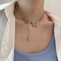 Pendant Necklaces U-Magical Street Style Titanium Steel Chunky Chain Chokers Necklace For Women Fashion Butterfly Cross Jewelry