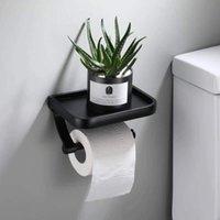 Soporte de papel higiénico de montaje en pared Soporte de papel de papel Tenedor de rodillo con almacenamiento de teléfono Accesorios de baño de estante 1454 v2