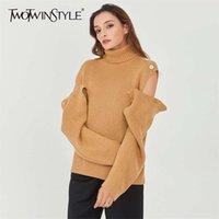 Twotwinstyle patchwork coreano oco out suéter para mulheres geléia longo luva de malha pulôveres feminino 2020 outono moda novo lj201114