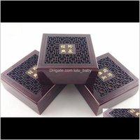 ENTREGA DE DROP DE ENTRADA DE EMBALAGEM 2021 Caixas de embalagem de madeira Pearl Fine Jewelry Box Pujde