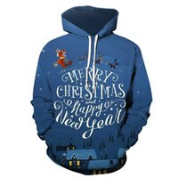 Men's Pattern 3D Printing Hoodie Party Fashion Tops Christmas Round Neck High Quality Street American Sweater Four Seasons NO40