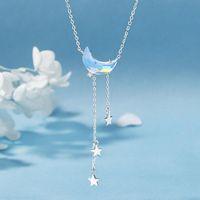 Collares colgantes de color plateado joyería de boda luna estrella de plumatura collar de cadena de clavícula tasel novia novia elegante dama regalos 2021