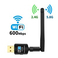 New 2.4G   5G WiFi USB Adapter Wireless AC 600M Network Card Dual Band High Gain Antenna Wi Fi Dongle Long Distance For Windows
