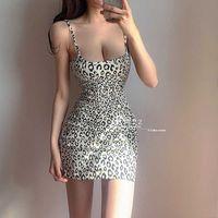 WOMENGAGA Summer Tops Sexy Slim Hip Temperament Animal Leopard Print Strapless Tank Vest Mini Dresses Party Dress Korea F6CV 210603