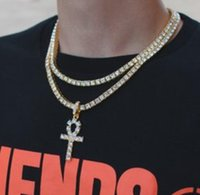 Hip Hop Gold Cruz Pingente Colar Para Homens Jóias com Ouro Banhado Corrente de Tênis CRTOSS Colar de jóias