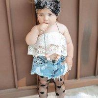 子供服セット女の子衣装ベビー服子供服Summer Wearレースブラトップスデニムホールショーツパンツ2ピースB7598