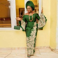 Muslim Green Mermaid Evening Dresses V Neck Flared Long Sleeves Plus Size Prom Aso Ebi Laced Appliques Dubai Party Gowns