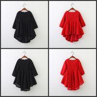5250 Kırmızı Dantel Uzun Kollu Prenses Parti A-Line Çocuk Elbiseler Için Bebek Kız Bahar Çocuk Giyim Toptan Çocuk Giysileri 141 Y2
