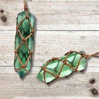 Collares colgantes Collar de cristal natural Handed Piedra de punto Colorido Piedra áspera para hombres Mujeres Curación Colgadoras Tejido cuerda
