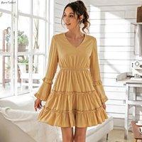 Borntogirl 2021 Primavera Autunno Dress Delle Donne Donne Casual Flare Manica V Collo V Cuffie Gialle Robe Robe Femme Abiti