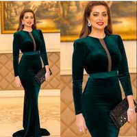 Green Cheap Long Sleeves Velvet Evening Dresses Mermaid Cut-Out Sweep Train Prom Gowns Simple Women Party Formal