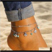 Anklets Drop Entrega 2021 Sier Cadena Anklet Bohemian Shell Green Stone Ped Tokle Pulsera Sandalias de verano Piernas Mujeres Joyería Regalos 1arwc