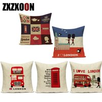 Cushion Decorative Pillow Nordic London Style Bus Soldier Flag Decorative Pillows Case Cotton Linen Sofa Home Cushion Cover For Bedroom
