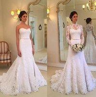 Mermaid Wedding Dresses Bridal Gown Ribbon Sweep Train Full Lace with Tulle Wrap Custom Made Plus Size Arabic vestidos de novia