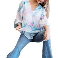 Women T-Shirts Fashion V Neck Long Puff Sleeve Scrawling Print Loose Blouse Shirt Top Women's Clothing 2021 T-Shirt