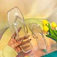 Pantofole Summer Donne Fashion Fuori Strass cristallo Falt Flip flop Sandali antiscivolo Scarpe da spiaggia Slifts Zapatos de Mujer # G3