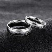 Il suo re con la sua regina anello di coppia in acciaio in titanio