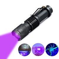 LED UV مضيا فائقة البنفسجي مصغرة الشعلة العقرب البول البول البول كاشف زوومابلي AA قابلة للشحن 14500 بطارية مشاعل