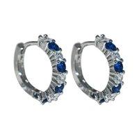 Hoop & Huggie Gem Stone 925 Sterling Silver Earrings Blue Sapphire And White Rhinestone For Women