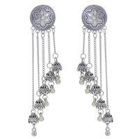 Orecchini di goccia di Jhumka per le donne vintage argento color campane lungo nappa appeso orecchino egitto afghan regalo regalo ciondola lampadario