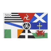 3x5ft 90x150см Европейская кастрюля Celtic нации Флаг Ирландия Шотландия Уэльс Бретань Флаг для празднования HHD7265