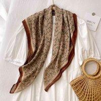 spring and summer cotton linen silk female flower generous beach towel sunscreen Shawl Scarf school tie