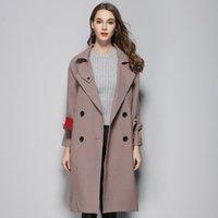Alta qualità Brand Trench Coat Fashion Bavero Collar Doppio Petto Breasted Cappotto da donna Streetwear Slim Fit Belt Vento Femmina