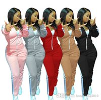 Women Tracksuits Two Pieces Set Designer Outfits Zipper Jacket Solid Color Splicing Ribbon Stitching Leggings Ladies Sportswear 5 Colours