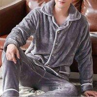 Herbst Winter Dicke Warm Flanell Pyjama Sets Für Männer Langarm Coral Samt Sleepwear Anzug Loungewear Homewear Home Kleidung 210901