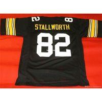 Retro # 82 John Cheap Stallworth Mitchell Ness Jersey Black Mens Stitching Tamaño de gama alta S-5XL Jerseys College NCAA